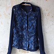 Одежда ручной работы. Ярмарка Мастеров - ручная работа Блуза-рубашка из авторской ткани цвета вечернего снега.. Handmade.
