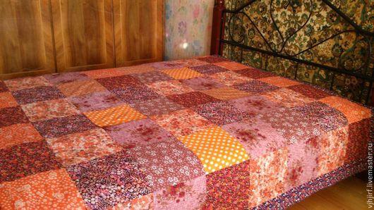 Текстиль, ковры ручной работы. Ярмарка Мастеров - ручная работа. Купить Покрывало оранжевое. Handmade. Покрывало пэчворк, хлопок 100%