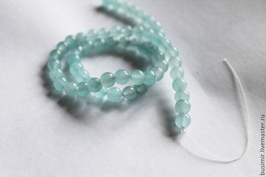 Жадеит, цвет - зеленовато-голубой. Бусины жадеита 6 мм. Жадеит для создания украшений. Busimir