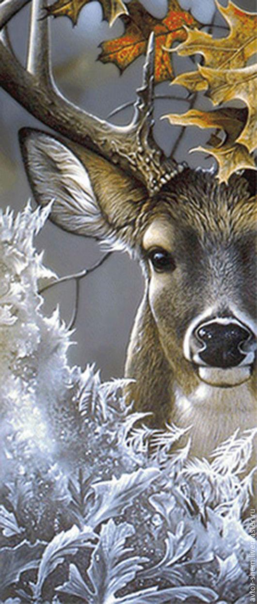 Needlework handmade. Livemaster - handmade. Buy Scheme embroidery 'Forest deer'.The author's work
