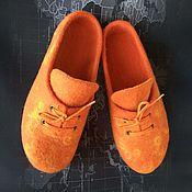"""Обувь ручной работы. Ярмарка Мастеров - ручная работа Валяные тапочки """"Оранжевое настроение"""". Handmade."""