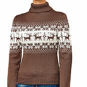 """Одежда ручной работы. Ярмарка Мастеров - ручная работа Свитер """"норвежские олени"""" коричневый. Handmade."""
