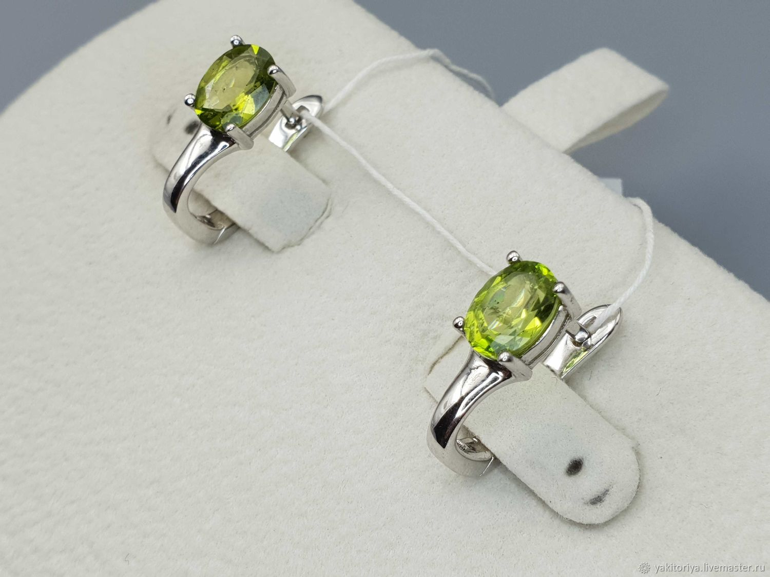 Silver earrings with chrysolite 8h6 mm, Earrings, Moscow,  Фото №1