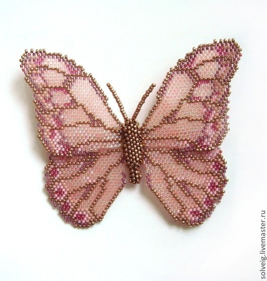 Броши ручной работы. Ярмарка Мастеров - ручная работа. Купить Бабочка. Handmade. Розовый, бабочка, бабочка из бисера, брошь из бисера