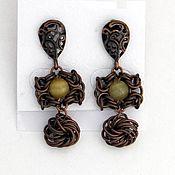 Украшения handmade. Livemaster - original item Copper color earrings with opal. Handmade.