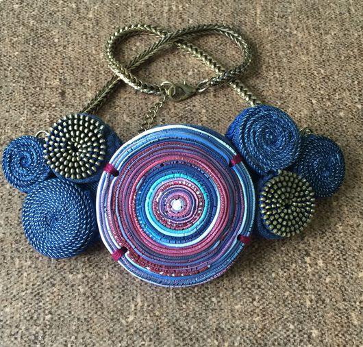 Колье, бусы ручной работы. Ярмарка Мастеров - ручная работа. Купить Колье из полимерной глины, джинсы и молний. Handmade.