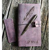 Сувениры и подарки handmade. Livemaster - original item Set of pen and leather Notepad with initials. Handmade.