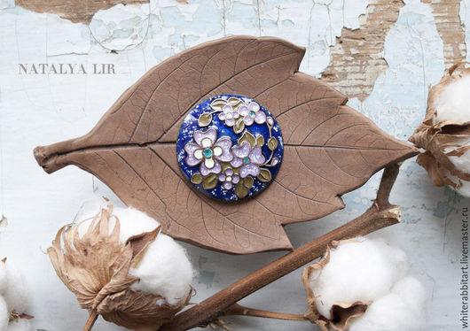 """Броши ручной работы. Ярмарка Мастеров - ручная работа. Купить Брошь """"Весенний вечер"""". Handmade. Брошь, весна, цветы, синий"""
