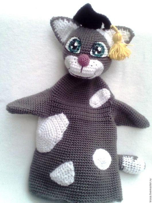 Развивающие игрушки ручной работы. Ярмарка Мастеров - ручная работа. Купить Кукла на руку - Кот ученый. Handmade. Серый