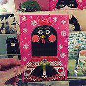"""Открытки ручной работы. Ярмарка Мастеров - ручная работа открытка почтовая """"петух и новый год"""". Handmade."""