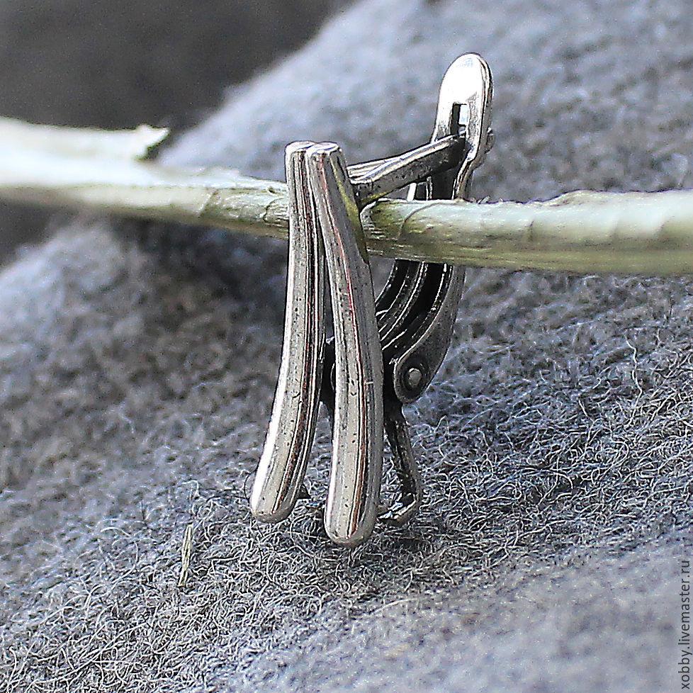 Швензы английский замок из мельхиора с покрытием серебром методом оксидирования для сборки сережек
