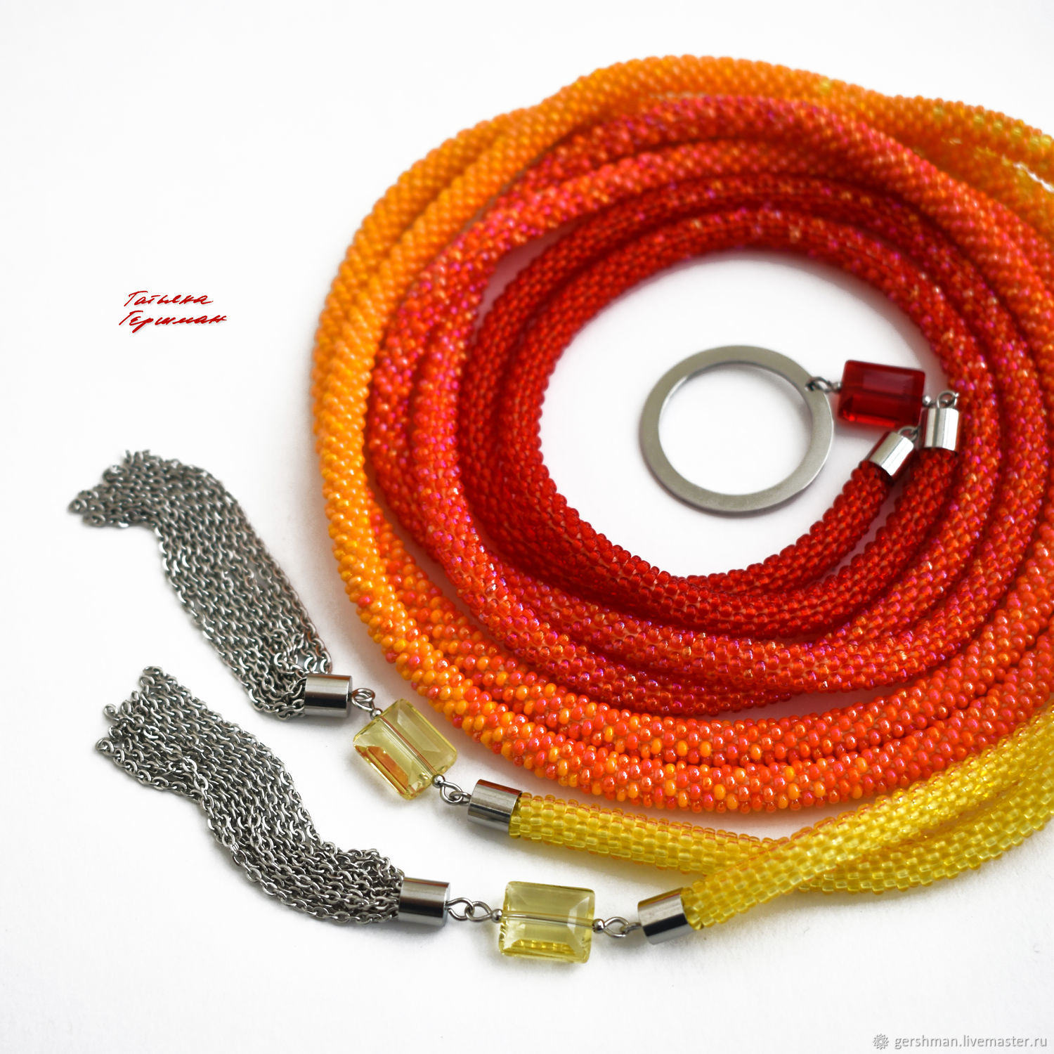 Thin belt beaded rope with Czech glass yellow red, Belt, Tomsk,  Фото №1