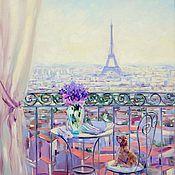 handmade. Livemaster - original item Oil painting on canvas, 40/50. A balcony in Paris. France Rabbit Puppy. Handmade.
