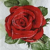 Материалы для творчества handmade. Livemaster - original item Napkins for decoupage red rose flowers print. Handmade.