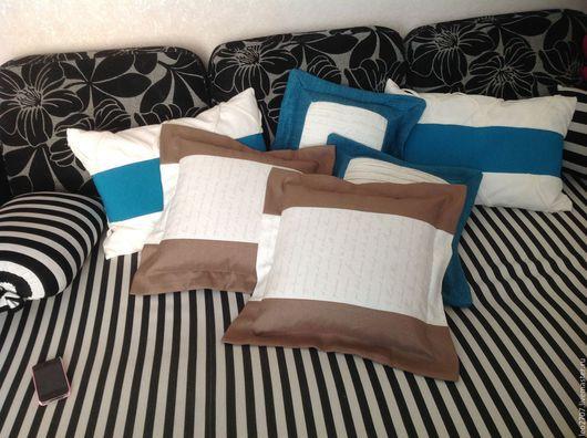 Текстиль, ковры ручной работы. Ярмарка Мастеров - ручная работа. Купить Чехол на подушку. Handmade. Морская волна, ткань