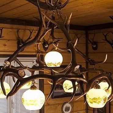 Для дома и интерьера ручной работы. Ярмарка Мастеров - ручная работа Люстра из рогов с плафонами (6+1). Handmade.