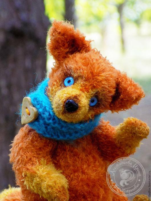 Мишки Тедди ручной работы. Ярмарка Мастеров - ручная работа. Купить Вязаный лис в стиле тедди. Листик. Handmade. Рыжий