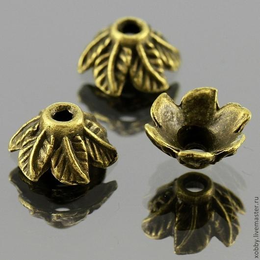 Шапочки для бусин в тибетском стиле Листья для использования в сборке украшений\r\nМатериал сплав\r\nЦвет античная бронза