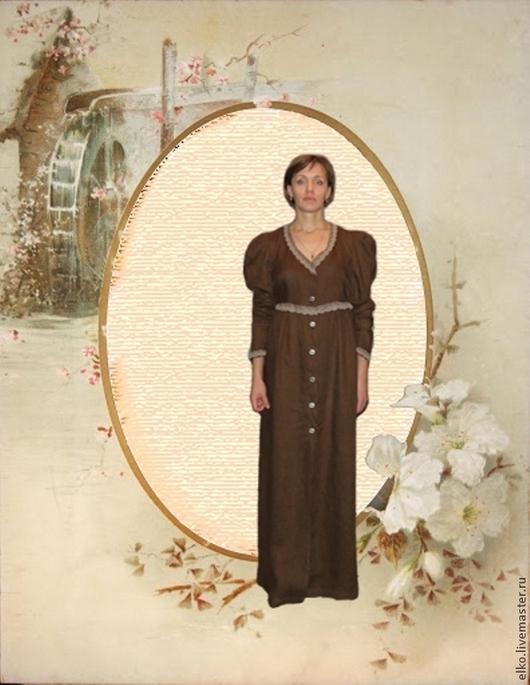 """Платья ручной работы. Ярмарка Мастеров - ручная работа. Купить """"Шоколадница"""" льняное платье. Handmade. Коричневый, для женщины, лен натуральный"""