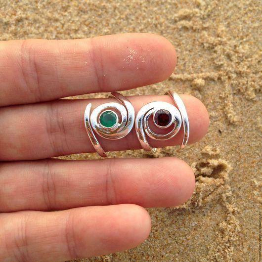 """Кольца ручной работы. Ярмарка Мастеров - ручная работа. Купить Кольцо """"Спираль"""". Handmade. Комбинированный, зеленый оникс, спиральный рисунок"""