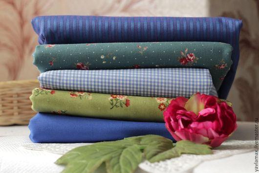 Шитье ручной работы. Ярмарка Мастеров - ручная работа. Купить Набор тканей Кукольный Сине-зеленый. Handmade. Ткань для рукоделия