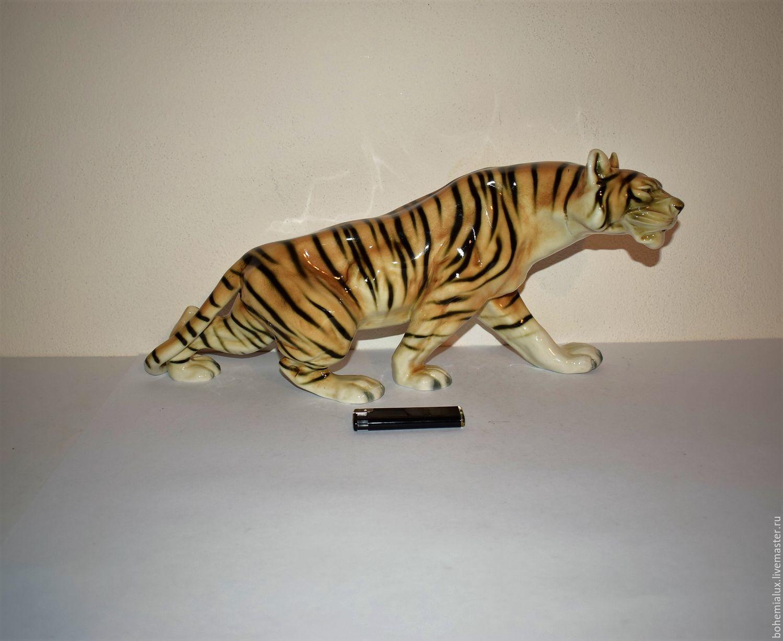 A big tiger figure 42 cmRoyal Dux porcelain 1960-1970ss, Vintage interior, Prague,  Фото №1