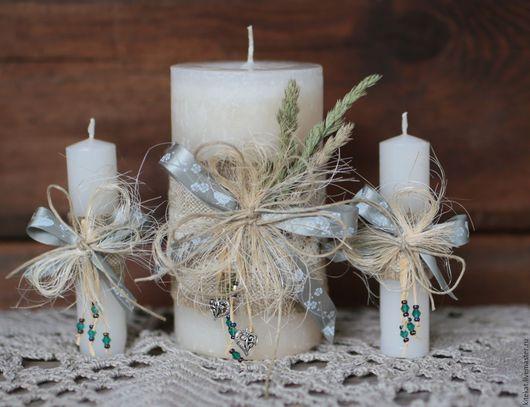 Свадебные аксессуары ручной работы. Ярмарка Мастеров - ручная работа. Купить Свадебные свечи в стиле Рустик. Handmade. Белый