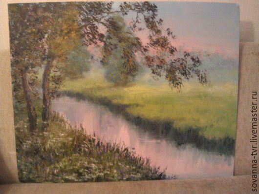Пейзаж ручной работы. Ярмарка Мастеров - ручная работа. Купить Летняя река. Handmade. Зеленый, масло, картина, вода, пейзаж
