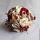 """Свадебные цветы ручной работы. Брошь-букет """"Гранатовый"""". Брошь букеты от Рознер Юлии. Ярмарка Мастеров. Яркий букет невесты"""