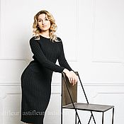 Одежда ручной работы. Ярмарка Мастеров - ручная работа Вязаное теплое платье черное. Handmade.