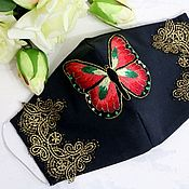 Аксессуары handmade. Livemaster - original item Black face mask with butterfly embroidery 4 layers of protection. Handmade.