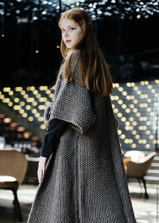 Верхняя одежда ручной работы. Ярмарка Мастеров - ручная работа. Купить Вязаное пальто. Handmade. Комбинированный, пальто демисезонное, альпака