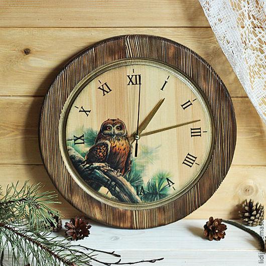 """Часы для дома ручной работы. Ярмарка Мастеров - ручная работа. Купить Часы настенные деревянные """"Сова"""".. Handmade. Зеленый, дерево"""