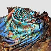 """Шелковый платок шаль """"Счастливая бирюза"""" с ручной росписью и бахромой"""