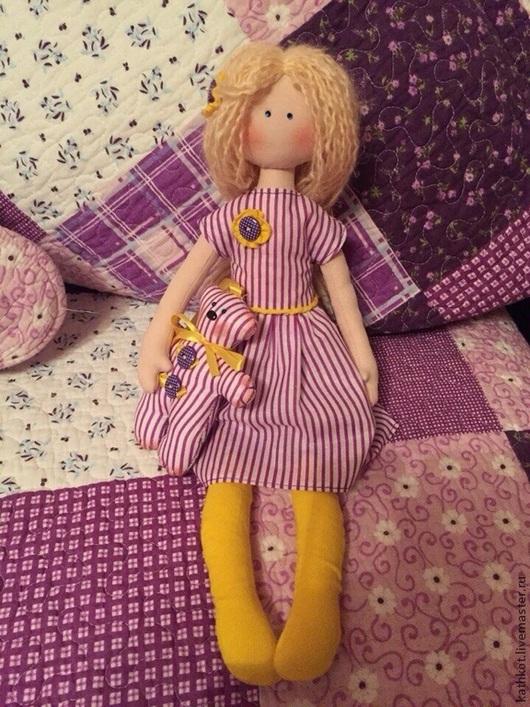 Коллекционные куклы ручной работы. Ярмарка Мастеров - ручная работа. Купить Текстильная авторская кукла Анечка и ее мишка. Handmade.