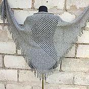 Аксессуары handmade. Livemaster - original item Grey knitted shawl with fringe. Handmade.