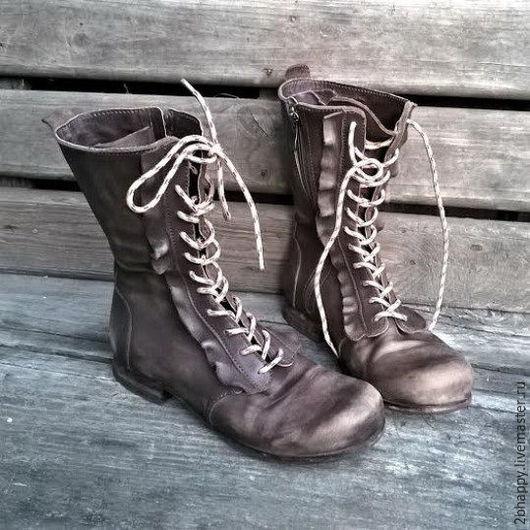 Обувь ручной работы. Ярмарка Мастеров - ручная работа. Купить Высокие кожаные ботинки La Boheme. Handmade. Коричневый
