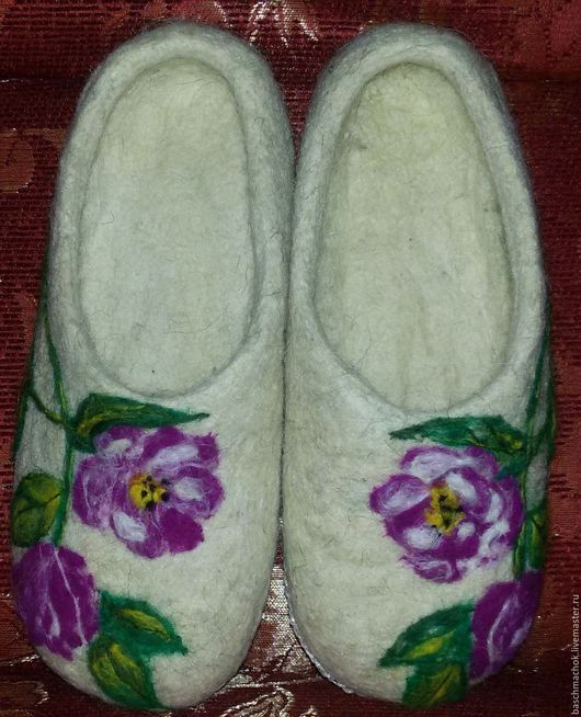 Обувь ручной работы. Ярмарка Мастеров - ручная работа. Купить Тапочки домашние. Handmade. Белый, домашние тапочки
