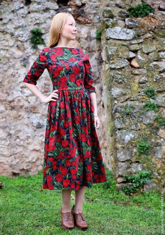 Платья ручной работы. Ярмарка Мастеров - ручная работа. Купить Платье Тюльпаны Хлопок 100%. Handmade. Тюльпан, Платье нарядное