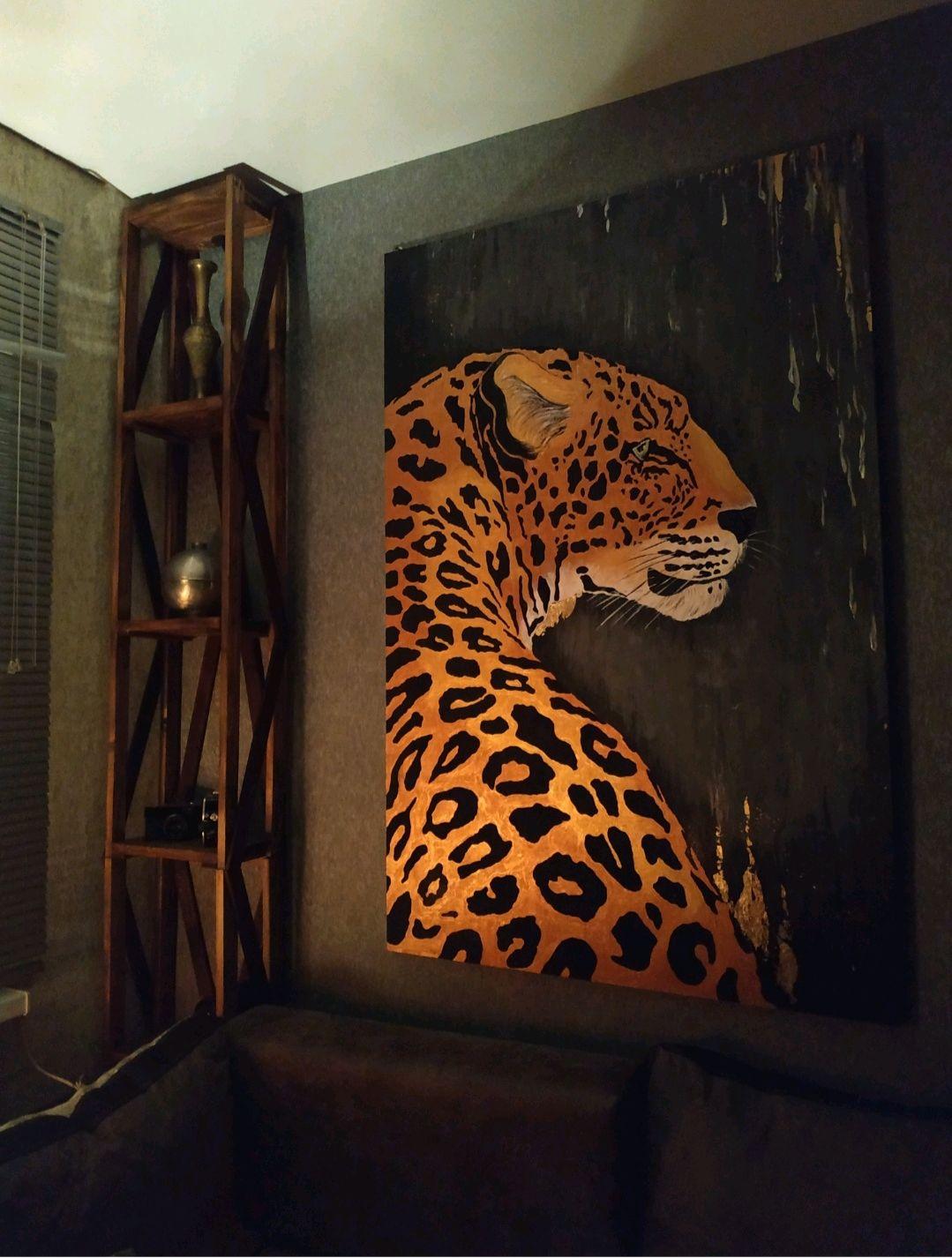 Картина с поталью золотой леопард, Картины, Майкоп, Фото №1