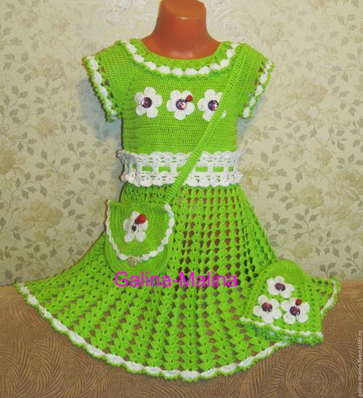 """Одежда для девочек, ручной работы. Ярмарка Мастеров - ручная работа. Купить Комплект """"Полянка"""". Handmade. Комплект, Платье нарядное"""