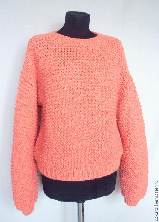 """Кофты и свитера ручной работы. Ярмарка Мастеров - ручная работа. Купить Пуловер """"Фламинго"""". Handmade. Коралловый, джемпер, теплая кофта"""