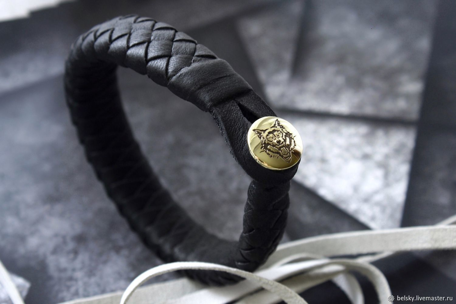 Black braided leather bracelet, with engraved runes on gold clasp, Braided bracelet, Novosibirsk,  Фото №1