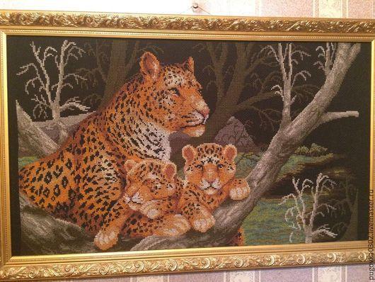 """Животные ручной работы. Ярмарка Мастеров - ручная работа. Купить Вышивка крестом. Картина """"Дикие леопарды"""". Handmade. Вышивка, животные"""