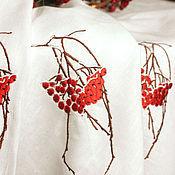 "Для дома и интерьера handmade. Livemaster - original item Linen round tablecloth "" Rowan in the snow"". Handmade."