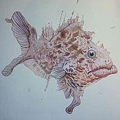 Картины и панно ручной работы. Ярмарка Мастеров - ручная работа Рыба красная. Handmade.