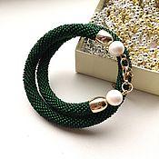 Bead bracelet handmade. Livemaster - original item Bracelet harness beaded Emerald silk emerald green malachite. Handmade.