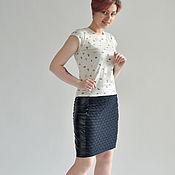 Одежда manualidades. Livemaster - hecho a mano Falda de piel y punto combinado. Handmade.