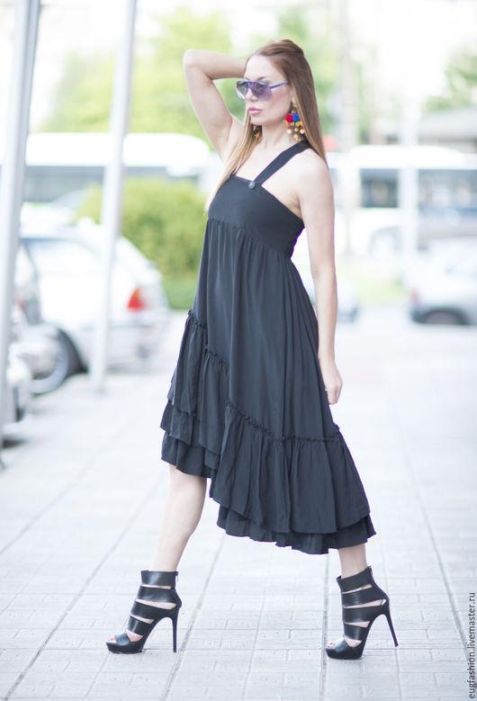 Платье черное. Свободный крой. Платье из хлопка. Ручная работа. Ярмарка Мастеров.