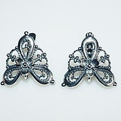 Материалы для творчества handmade. Livemaster - original item Earrings Vintage silver plating, Russia. Handmade.